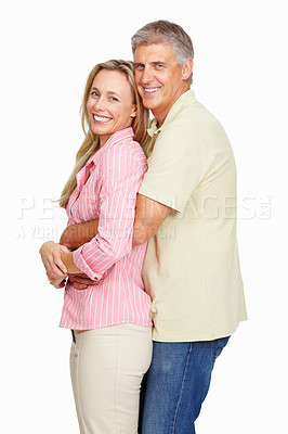 Buy stock photo Portrait of happy couple in love over white background