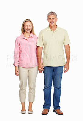 Buy stock photo Full length of happy mature couple holding hands on white background