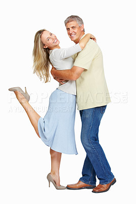 Buy stock photo Full length of mature couple in love looking at you on white background