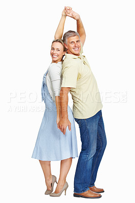 Buy stock photo Full length of mature playful couple together over white background