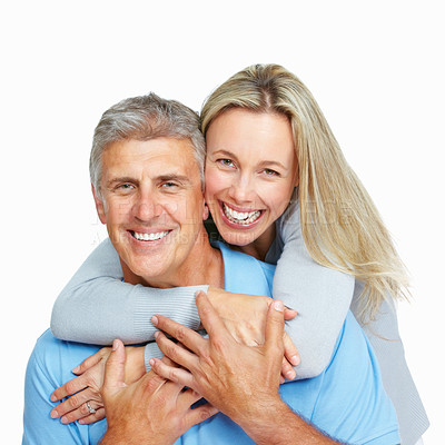 Buy stock photo Portrait of happy woman hugging man from behind over white background