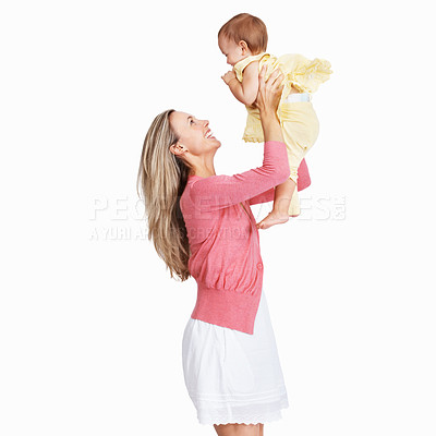 Buy stock photo A mother playing with her child while isolated on a white background