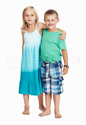 Buy stock photo Young children standing together over white background
