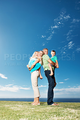 Buy stock photo Family spending happy time together at park