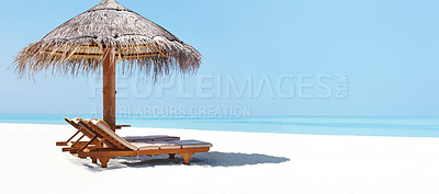 Buy stock photo Panoramic view of two chair and umbrella on the beach