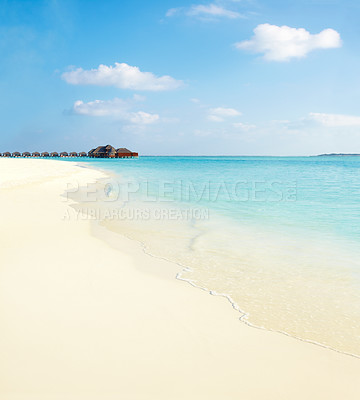 Buy stock photo Panoramic view of a beautiful beach with cloudy sky - Travel destinations
