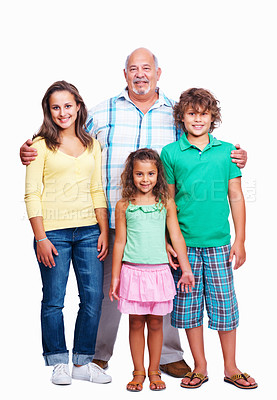 Buy stock photo Portrait of senior man posing with his grand children on white background