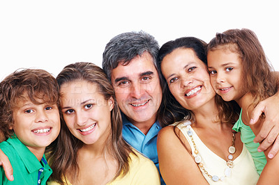 Buy stock photo Genuine and diverse family posing for a group portrait, isolated on white - copyspace