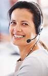 Customer service representative smiling