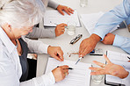 Business people busy discussing financial matter