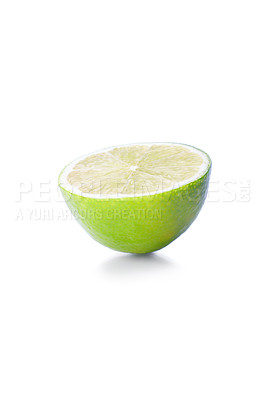 Buy stock photo Isolated lime fruit on white background. This picture is part of the series