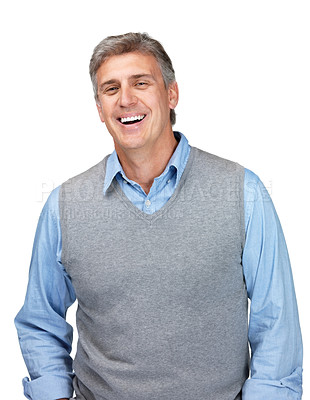 Buy stock photo Portrait of a happy mature man standing and smiling against white background