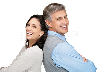 Buy stock photo Portrait of a smiling couple standing back to back against white background
