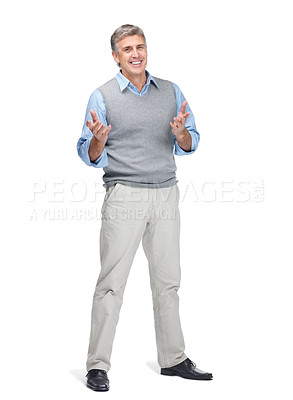Buy stock photo Portrait of a happy mature man gesturing with both hands over white background