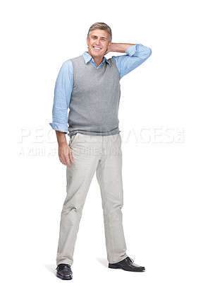 Buy stock photo Portrait of a happy middle aged man standing over white background