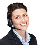 Young female customer support operator with headset