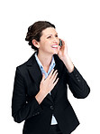 Smiling young businesswoman talking on mobile phone