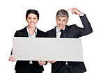 Select wisely - Two corporate people holding a blank billboard