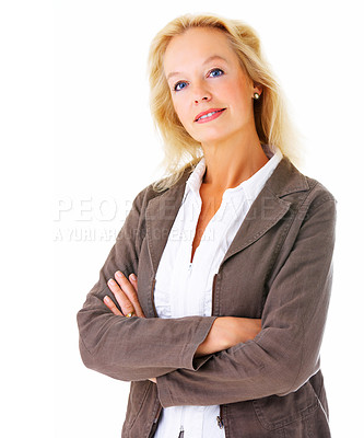 Buy stock photo Portrait of a confident-looking businesswoman smiling at the camera isolated on a white background