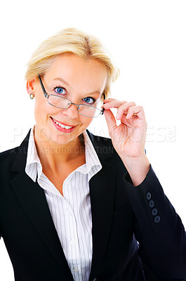 Buy stock photo Portrait of an mature businesswoman isolated on a white background.