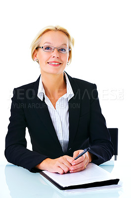 Buy stock photo Studio portrait of an attractive mature businesswoman sitting at her desk