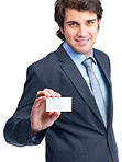 Confident young business man showing business card