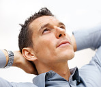 Man looking upwards and thinking about something