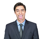 Happy young business man making a funny face against white