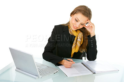 Buy stock photo Portrait of a young businesswoman at work.