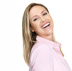 Young woman in pink laughing against white