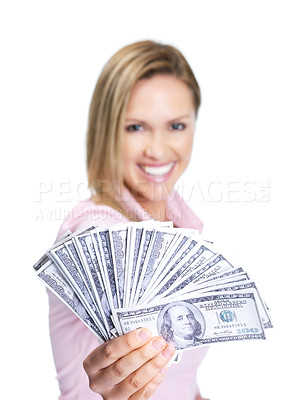 Buy stock photo Image of a happy female awarding you with lots of money