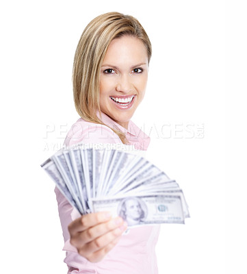 Buy stock photo Happy female handing over fan of notes to you - White background