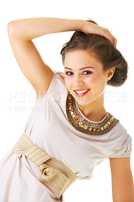 Buy stock photo An isolated fashion portrait of a beautiful young woman in fashionable clothes.