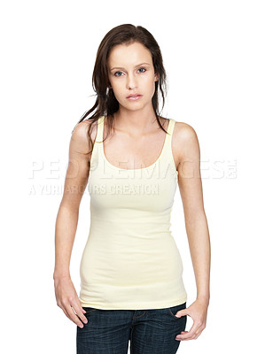 Buy stock photo Portrait of a pretty young woman standing against white background
