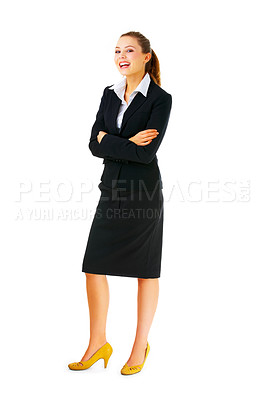 Buy stock photo Isolated full-body portrait of a beautiful young business woman.