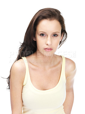 Buy stock photo Portrait of a pretty young lady against white background