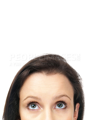 Buy stock photo Cropped image of young woman looking upwards over white background