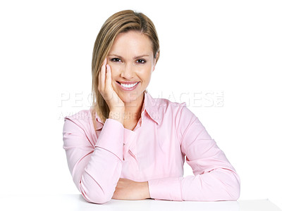 Buy stock photo Portrait of a relaxed young woman sitting comfortably - Copyspace