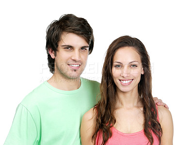 Buy stock photo Portrait of a boy standing with her girlfriend on white background