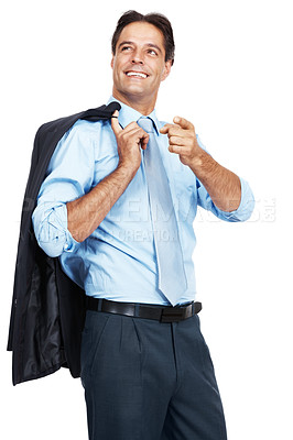 Buy stock photo A mature businessman holding his jacket over his shoulder against a white background
