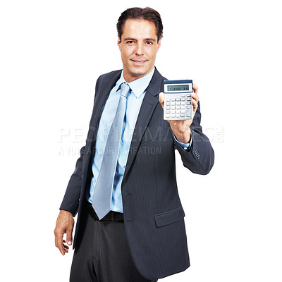 Buy stock photo Portrait of a businessman holding up a calculator against a white background
