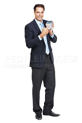 Buy stock photo Portrait of a businessman holding up a calculator isolated on white