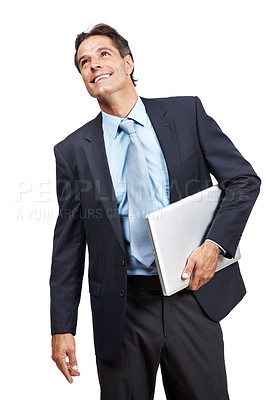 Buy stock photo Studio shot of a businessman holding a laptop under his arm against a white background