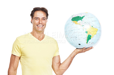 Buy stock photo Portrait of a man holding a globe against a white background
