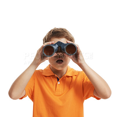 Buy stock photo Portrait of a little boy looking through binoculars isolated on white background