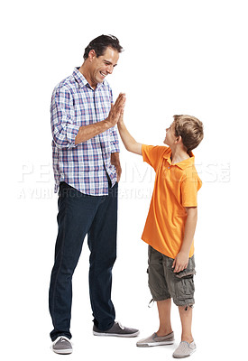 Buy stock photo Portrait of a young man giving high five to his small son over white background