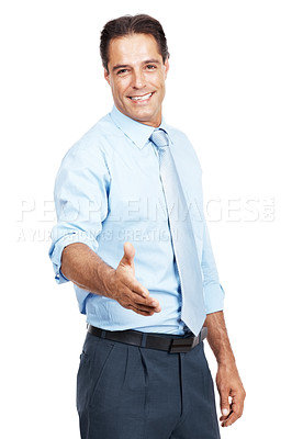 Buy stock photo Portrait of a businessman extending his arm for a handshake