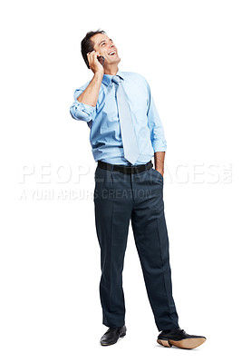 Buy stock photo Shot of a mature businessman talking on his cellphone isolated on white