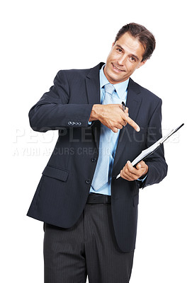 Buy stock photo Portrait of a mature businessman pointing at the clipboard he's holding