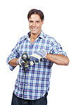 Happy craftsman holding a drill machine in hand isolated on white
